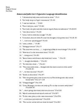 Romeo and Juliet  Act V Figurative Language Identification and KEY