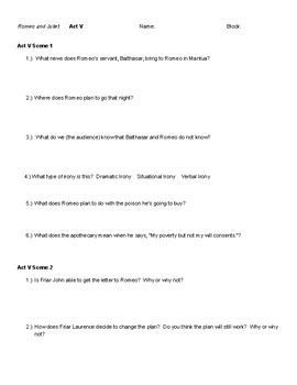 Romeo and Juliet Act V Notes and Questions