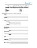 Romeo and Juliet - Act by Act Study Guide