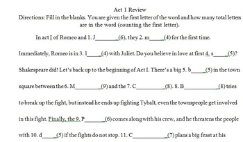 Romeo and Juliet: Act by Act tests, close activities, reviews