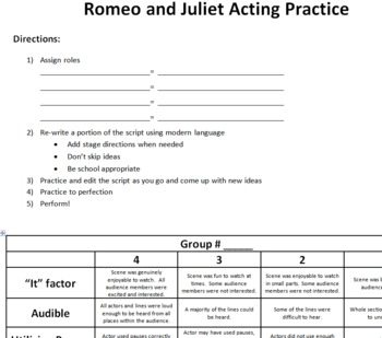 Romeo and Juliet Acting Practice