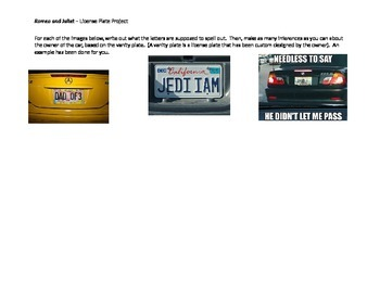 Romeo and Juliet Activity: Vanity License Plate