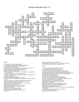 romeo and juliet crossword puzzle essay This crossword puzzle, shakespeare's romeo and juliet, was created using the crossword hobbyist puzzle maker.