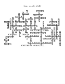 Romeo and Juliet Acts 1-3 Crossword