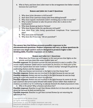 Romeo and Juliet Acts 1-5 Discussion Questions Bundle
