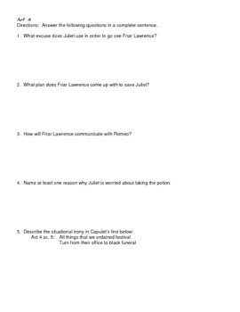 Romeo and Juliet Acts 3-4 Quiz