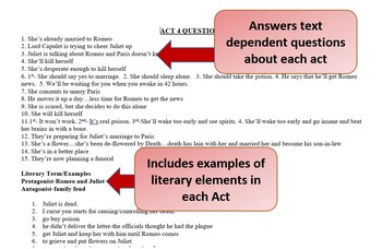 Romeo and Juliet Acts 4-5 Vocabulary, Literary Terms, & Guided Reading Questions