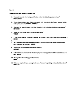 Romeo and Juliet Acts I-III Quotations Quiz and Writing Activities