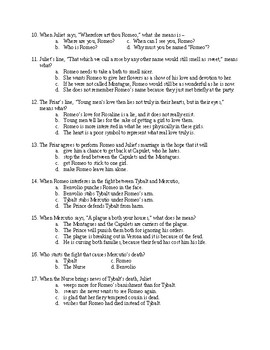 Romeo and Juliet Acts I-IV Exam