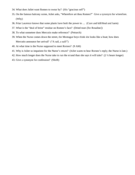 Romeo and Juliet Acts I and II trivia game questions and KEY