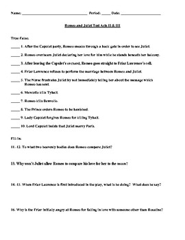Romeo and Juliet Acts II-III Test with Answer Key