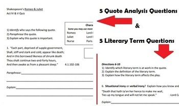 Romeo and Juliet - Acts IV & V Quote Quiz