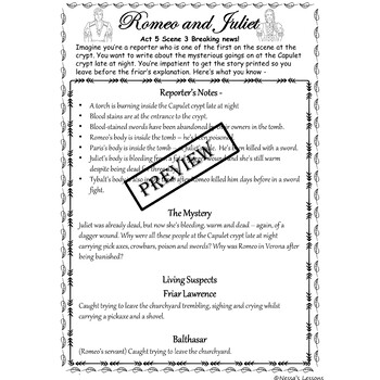 Romeo and Juliet (Adapted) Act 5 (Spec.ed/ESL)