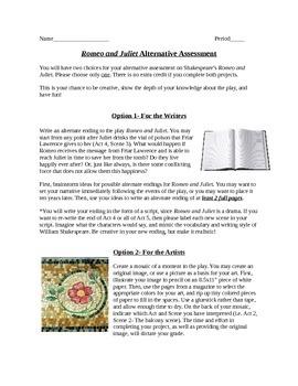 Romeo and Juliet- Alternative Creative Assessment