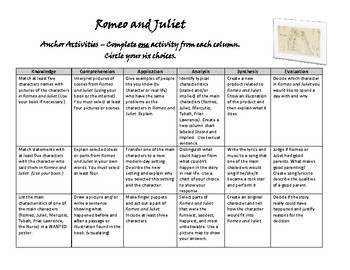 Romeo and Juliet Anchor Activities