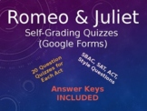 Romeo and Juliet Assessments: Self-Grading Google Forms Quizzes