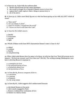 Romeo and Juliet Balcony Scene Close Read Quiz Test Act 2 Scene 2
