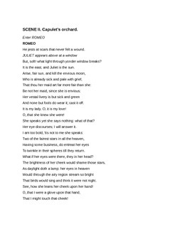 Romeo and Juliet: Balcony Scene Paraphrase Assignment