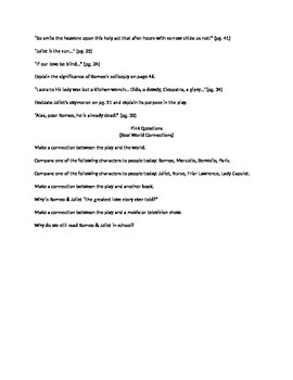 Romeo and Juliet Basketball Review Game