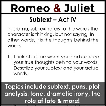 Romeo and Juliet Bell Ringers and Entry Task Journals