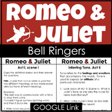 Romeo and Juliet Bell Ringers and Lessons to Enhance Your Unit Plan