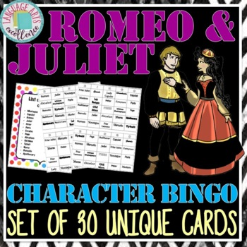 Romeo and Juliet Bingo Cards - Set of 30