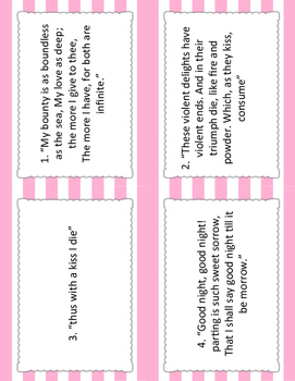 Romeo and Juliet Block Party Cards