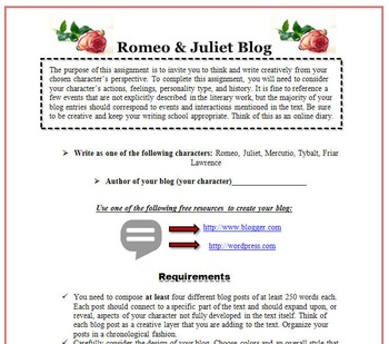 Romeo and Juliet Bundle: Blog, Gallery Walk, & Thematic Chart for Analysis