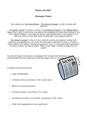 Romeo and Juliet By William Shakespeare Newspaper Project with Rubric