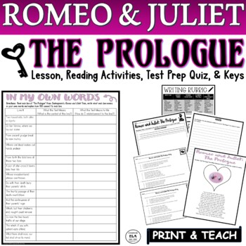 Romeo and Juliet's The Prologue Common Core Reading Quiz (Test Prep)