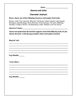 Romeo and Juliet - Character Analysis Activity - William Shakespeare