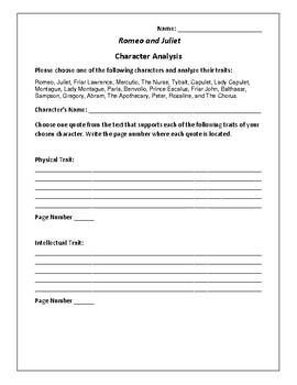 Romeo and Juliet - Character Analysis Activity - William S
