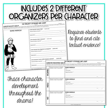 Romeo And Juliet Character Analysis Graphic Organizers | Tpt