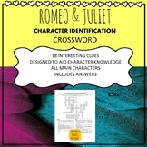 Romeo and Juliet Character Identification Crossword Puzzle Revision