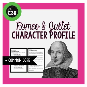 ROMEO & JULIET: shakespeare, character activity