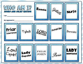 Romeo and Juliet Character Review Game