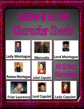 Romeo and Juliet Character Sheets