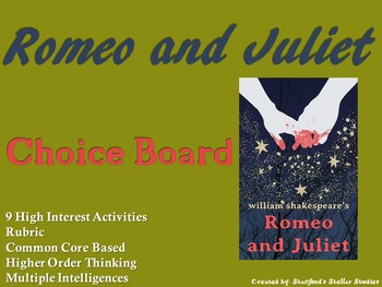 Romeo and Juliet Choice Board Shakespeare Play Project Activities Menu Rubric