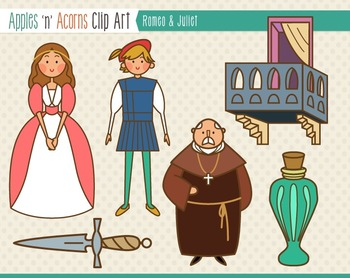 Romeo and Juliet Clip Art - color and outlines