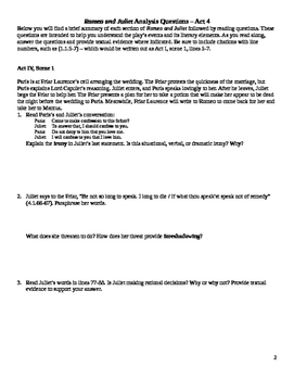 Romeo and Juliet Close Reading / Analysis Questions -- Act 4