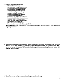 Romeo and Juliet Close Reading / Analysis Questions -- Act 5
