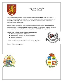 Romeo and Juliet Coat of Arms Activity