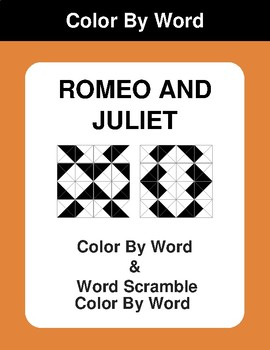Romeo and Juliet - Color By Word & Color By Word Scramble Worksheets