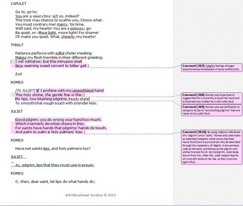 Romeo and Juliet Common Core Annotated Text – Party Scene (Act I, Scene v)