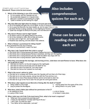 Romeo and Juliet Common Core Assessment Pack