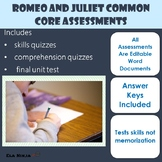Romeo and Juliet Test and Quizzes: Common Core Assessment Bundle