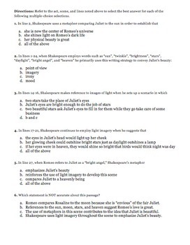 Romeo and Juliet Common Core Part 3 English Regents Exam Guided Parallel Task