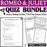 Romeo and Juliet Common Core Reading Quiz BUNDLE Acts 1-5 (Test Prep)