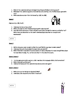 Romeo and Juliet Comprehension Questions