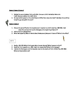 Romeo and Juliet Comprehension Questions by Act